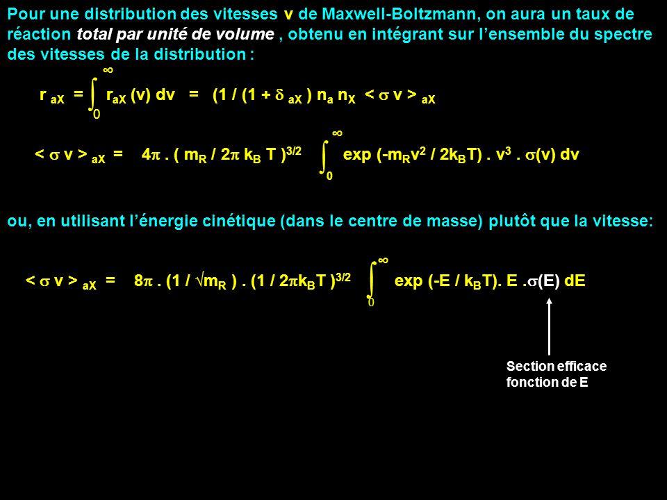 Pour une distribution des vitesses v de Maxwell-Boltzmann, on aura un taux de réaction total par unité de volume , obtenu en intégrant sur l'ensemble du spectre des vitesses de la distribution :