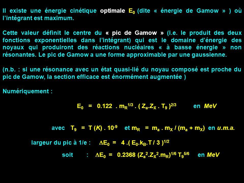 Il existe une énergie cinétique optimale E0 (dite « énergie de Gamow » ) où l'intégrant est maximum.