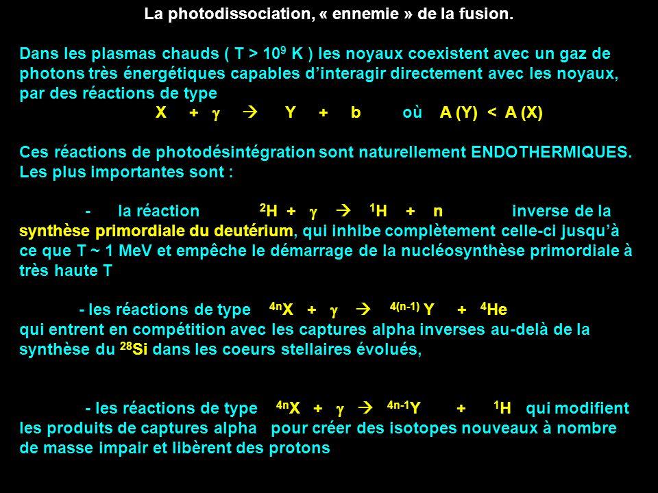 La photodissociation, « ennemie » de la fusion.