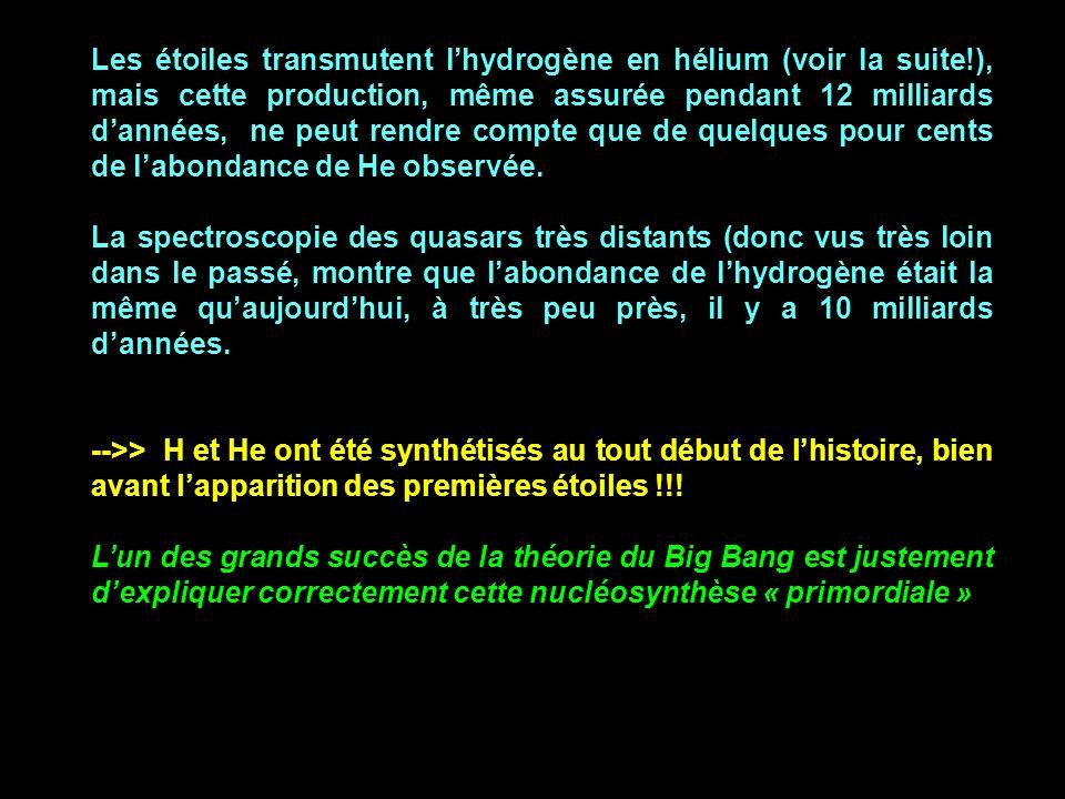 Les étoiles transmutent l'hydrogène en hélium (voir la suite
