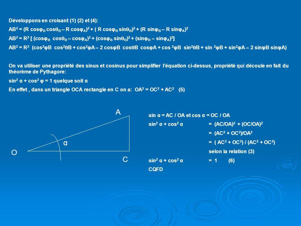 A α O C Développons en croisant (1) (2) et (4):