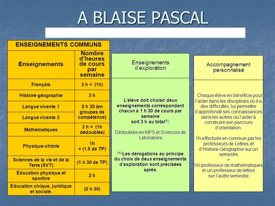 A BLAISE PASCAL ENSEIGNEMENTS OBLIGATOIRES : 28 h 30. ENSEIGNEMENTS COMMUNS. Enseignements. Nombre d'heures de cours par semaine.