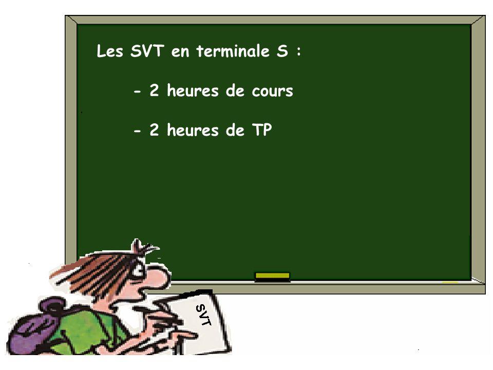 Les SVT en terminale S : - 2 heures de cours - 2 heures de TP