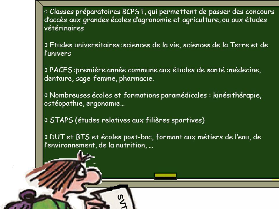  Classes préparatoires BCPST, qui permettent de passer des concours d'accès aux grandes écoles d'agronomie et agriculture, ou aux études vétérinaires