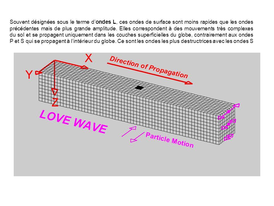 Souvent désignées sous le terme d'ondes L, ces ondes de surface sont moins rapides que les ondes précédentes mais de plus grande amplitude.