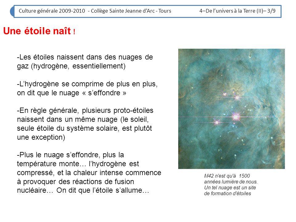 Culture générale 2009-2010 - Collège Sainte Jeanne d'Arc - Tours 4–De l'univers à la Terre (II)– 3/9