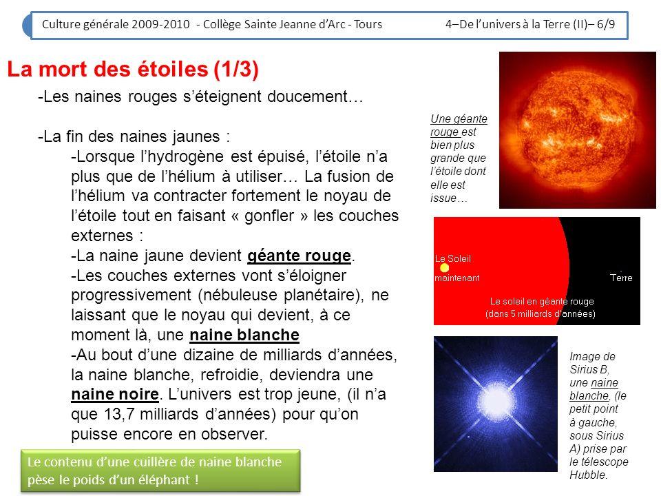 La mort des étoiles (1/3) Les naines rouges s'éteignent doucement…