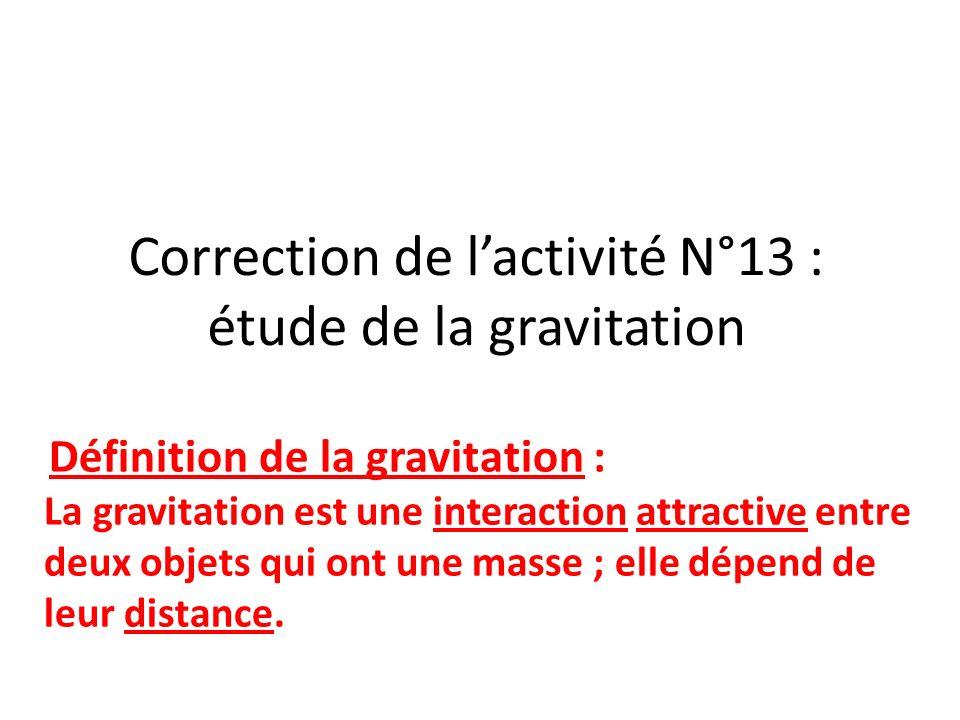 Correction de l'activité N°13 : étude de la gravitation