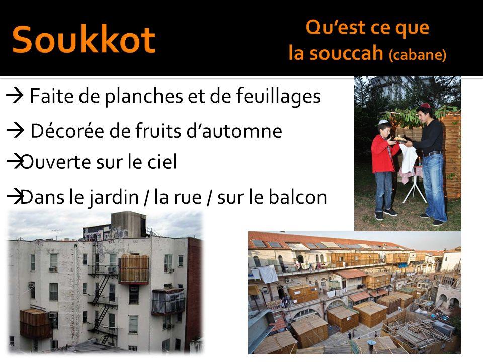 Soukkot Qu'est ce que la souccah (cabane)