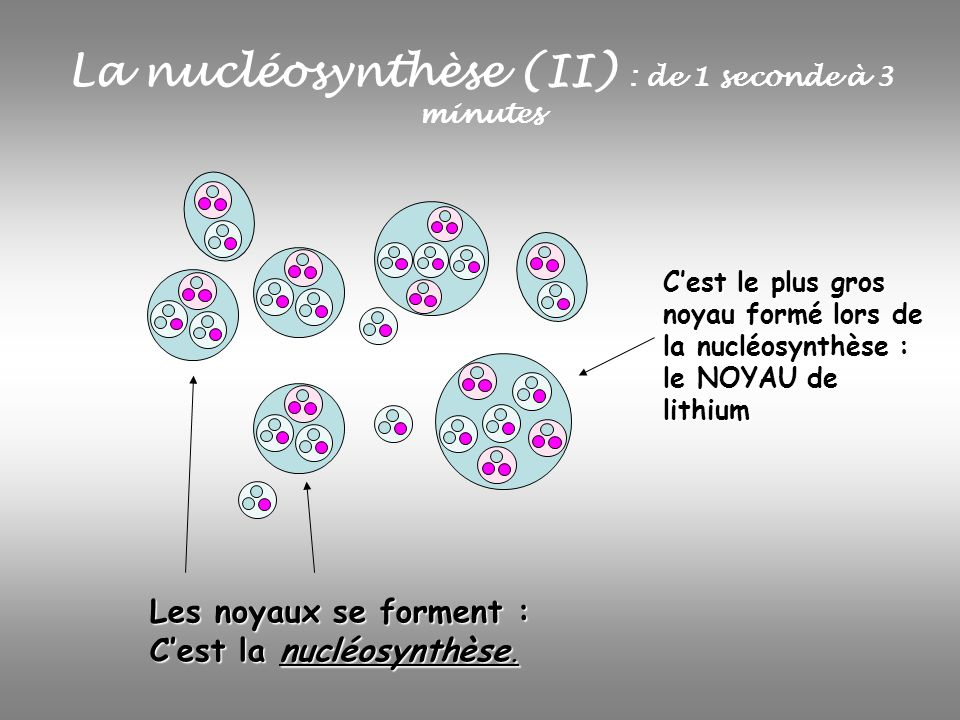 La nucléosynthèse (II) : de 1 seconde à 3 minutes