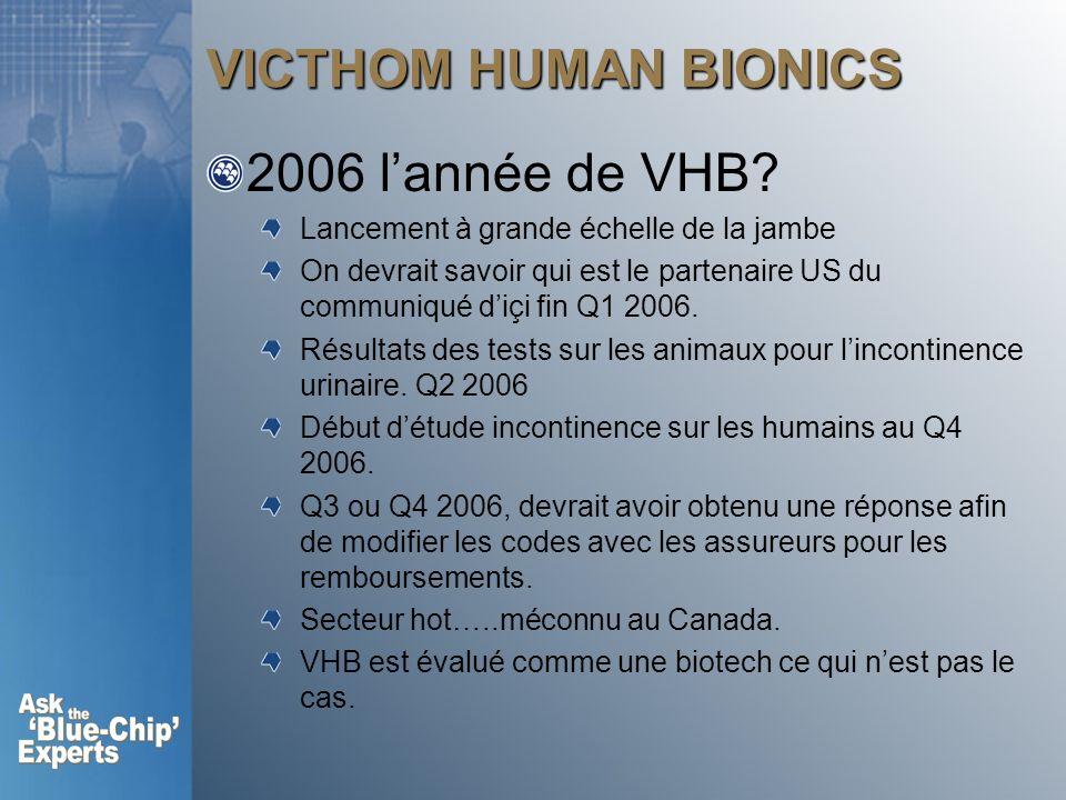 VICTHOM HUMAN BIONICS 2006 l'année de VHB