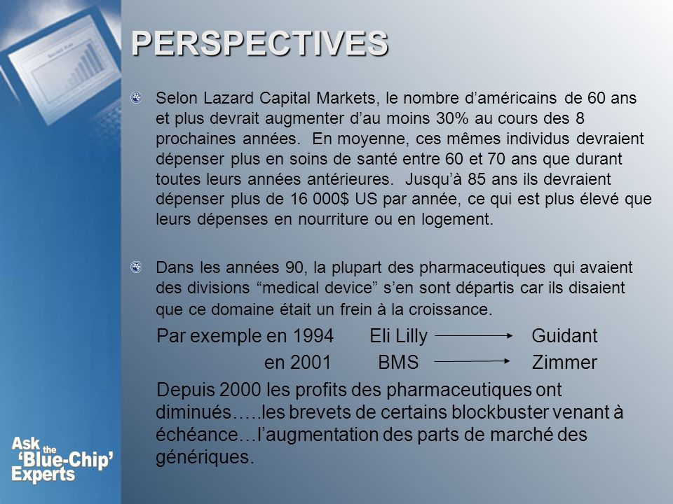 PERSPECTIVES Par exemple en 1994 Eli Lilly Guidant en 2001 BMS Zimmer