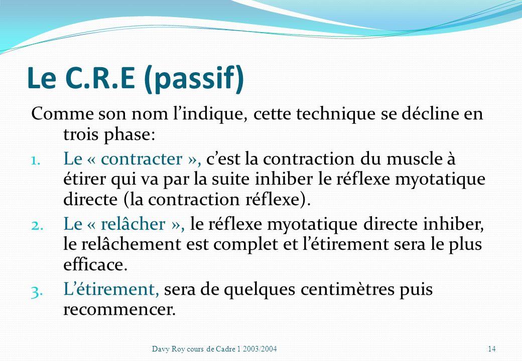 Le C.R.E (passif) Comme son nom l'indique, cette technique se décline en trois phase: