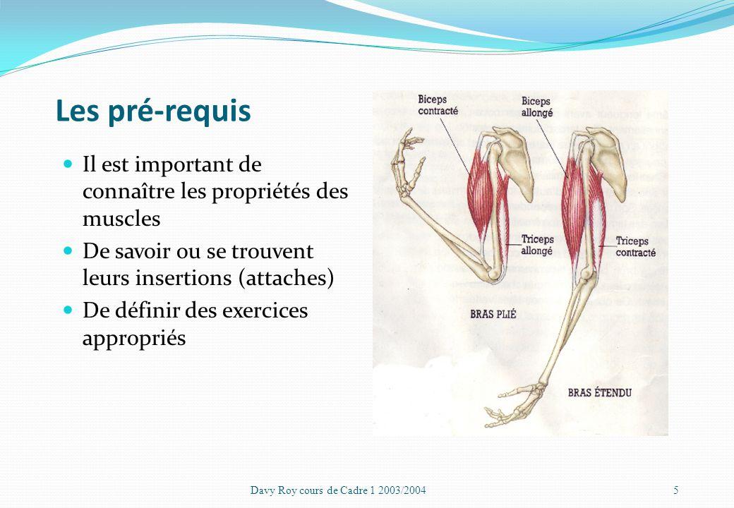 Les pré-requis Il est important de connaître les propriétés des muscles. De savoir ou se trouvent leurs insertions (attaches)