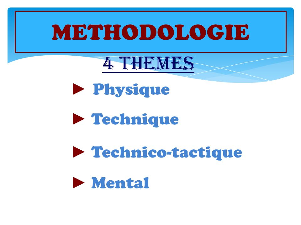 METHODOLOGIE 4 THEMES ► Physique ► Technique ► Technico-tactique