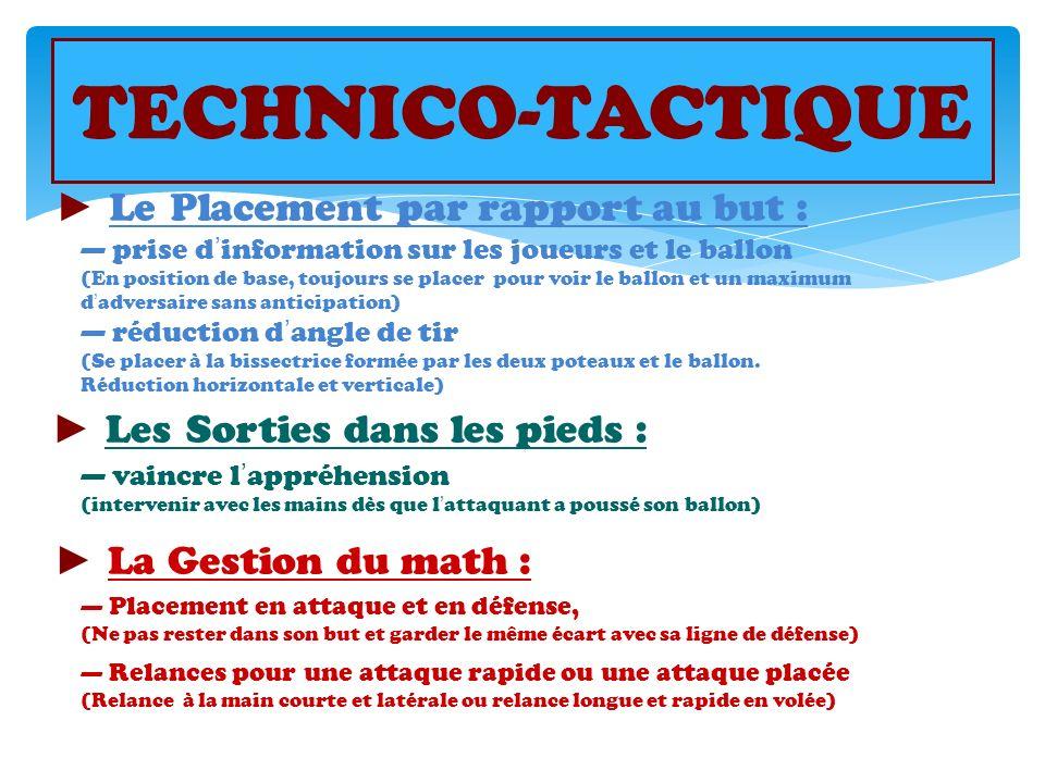 TECHNICO-TACTIQUE ► Le Placement par rapport au but :