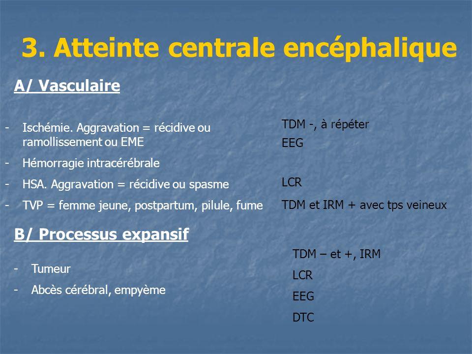 3. Atteinte centrale encéphalique