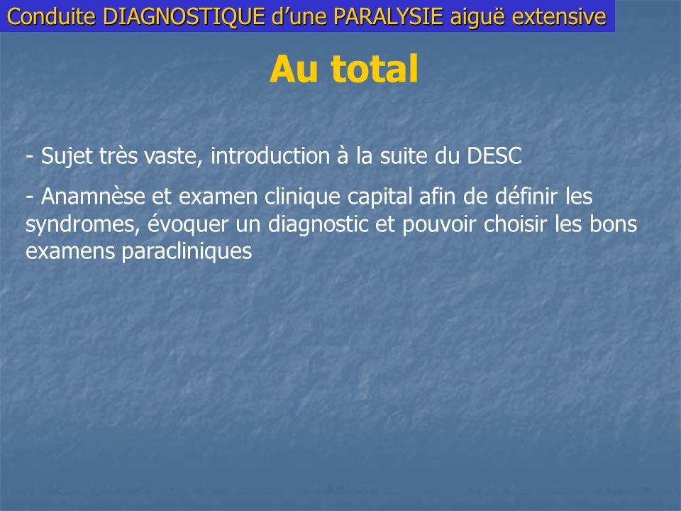 Au total Conduite DIAGNOSTIQUE d'une PARALYSIE aiguë extensive