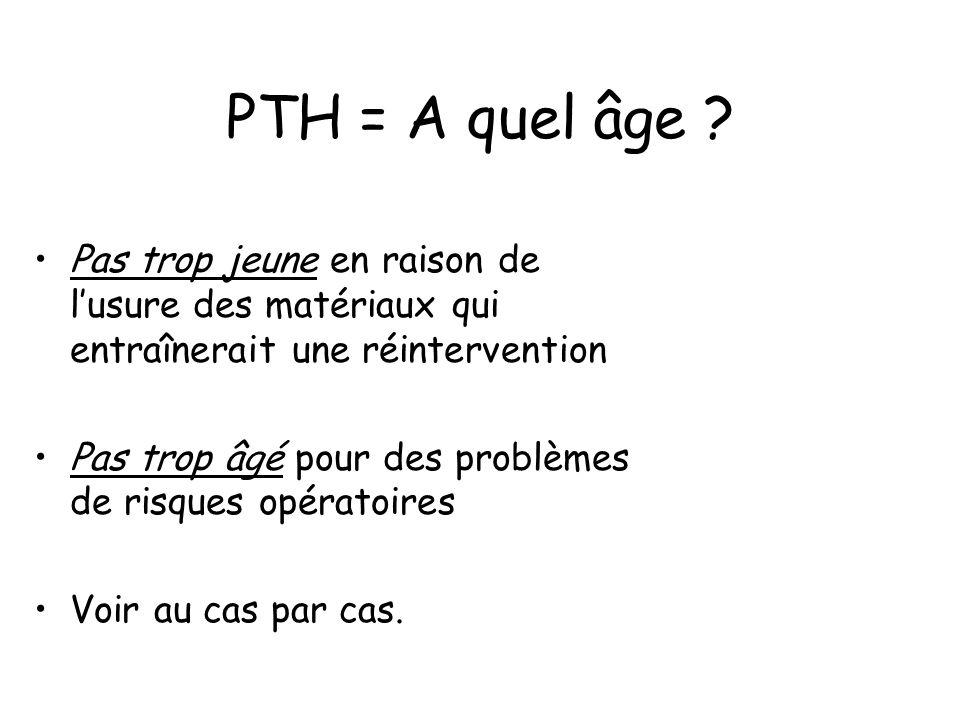 PTH = A quel âge Pas trop jeune en raison de l'usure des matériaux qui entraînerait une réintervention.
