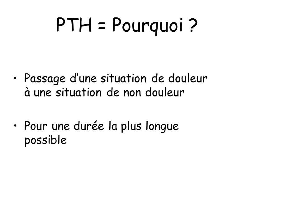 PTH = Pourquoi . Passage d'une situation de douleur à une situation de non douleur.