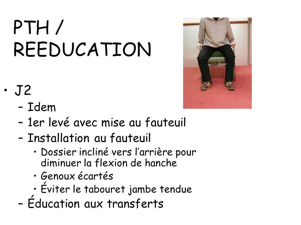 PTH / REEDUCATION J2 Idem 1er levé avec mise au fauteuil