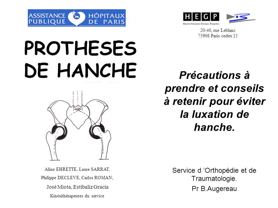 20-40, rue Leblanc 75908 Paris cedex 15. PROTHESES DE HANCHE. Précautions à prendre et conseils à retenir pour éviter la luxation de hanche.
