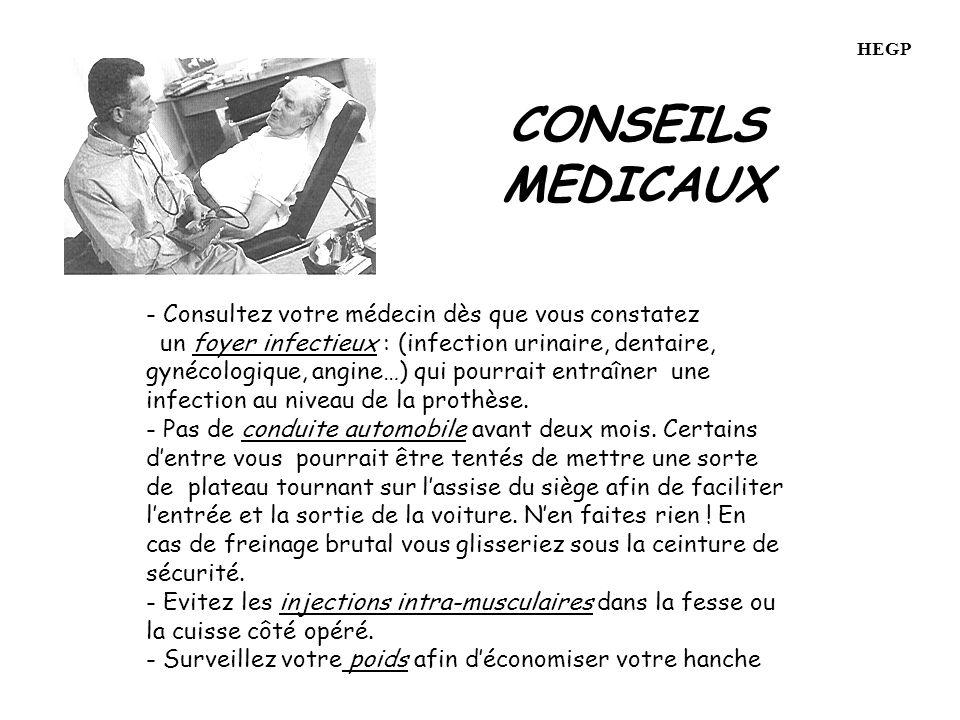 CONSEILS MEDICAUX - Consultez votre médecin dès que vous constatez