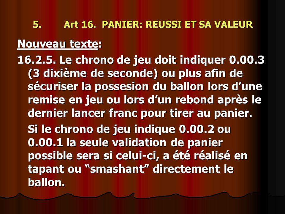 5. Art 16. PANIER: REUSSI ET SA VALEUR