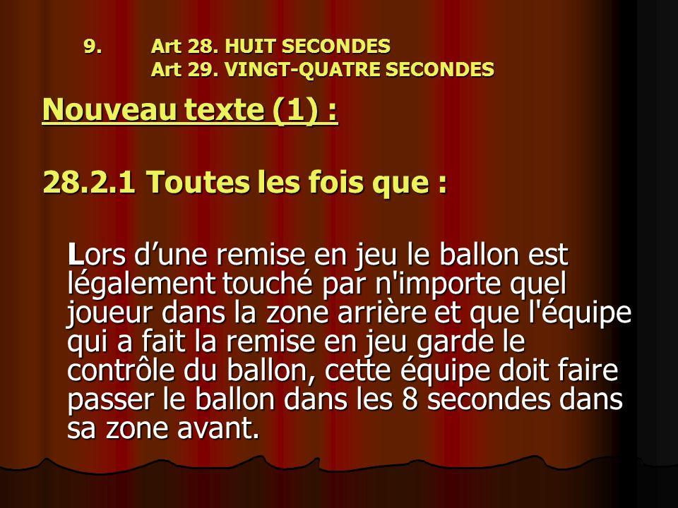 9. Art 28. HUIT SECONDES Art 29. VINGT-QUATRE SECONDES