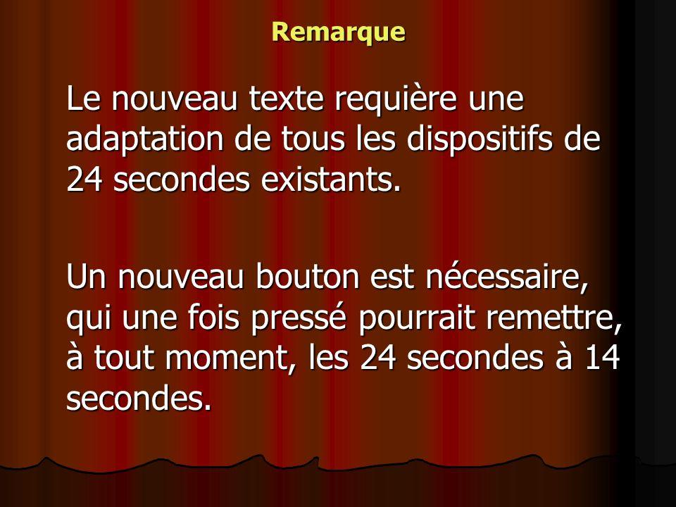 Remarque Le nouveau texte requière une adaptation de tous les dispositifs de 24 secondes existants.