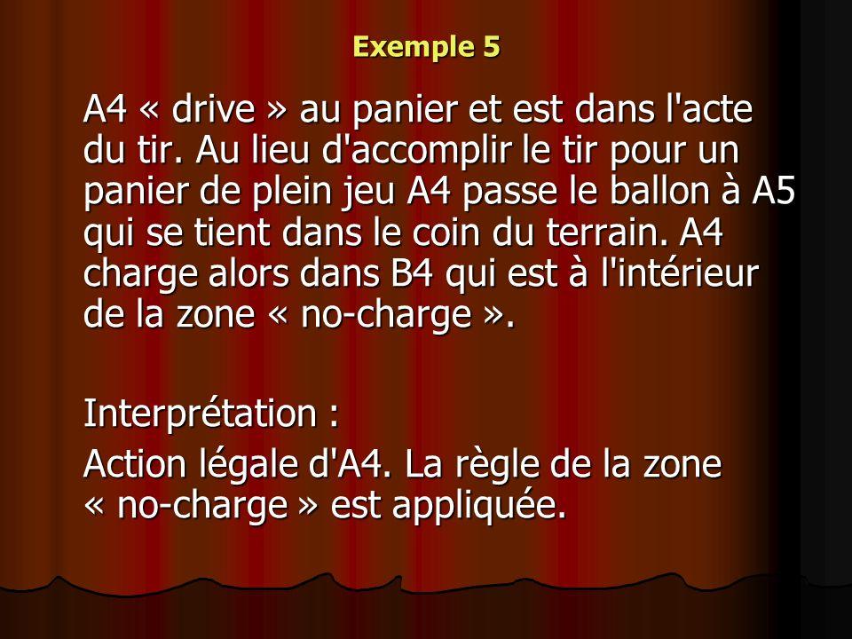 Action légale d A4. La règle de la zone « no-charge » est appliquée.