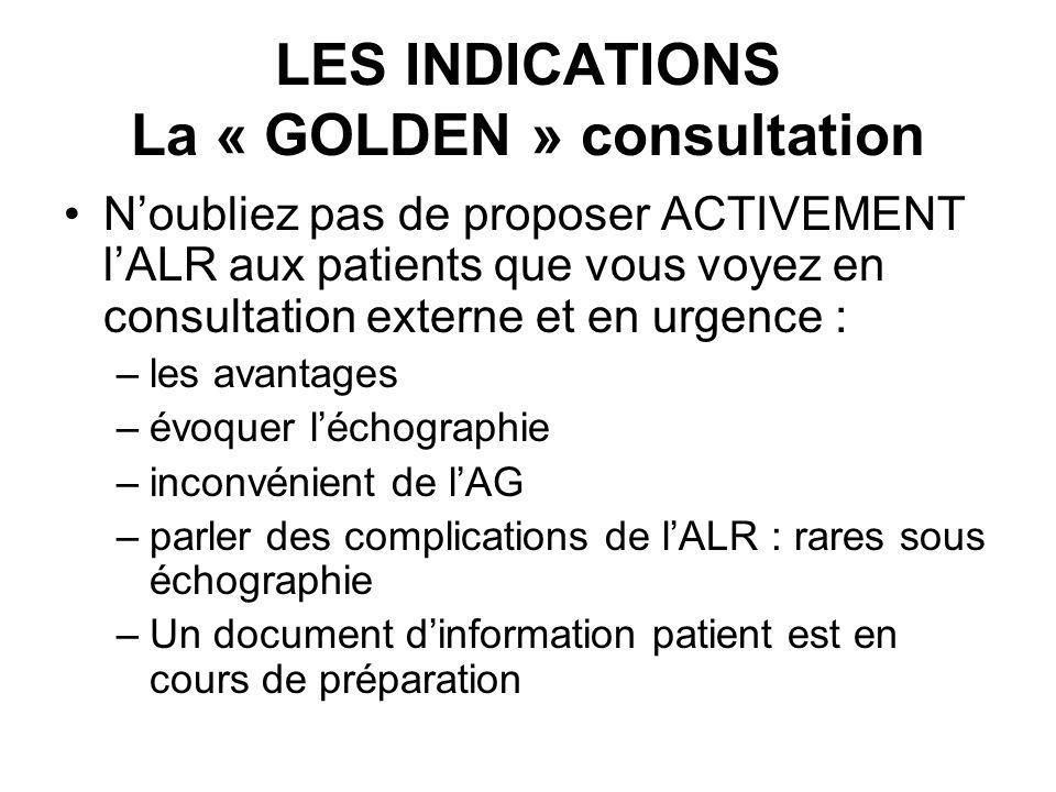 LES INDICATIONS La « GOLDEN » consultation