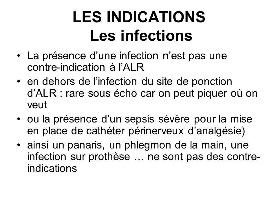 LES INDICATIONS Les infections