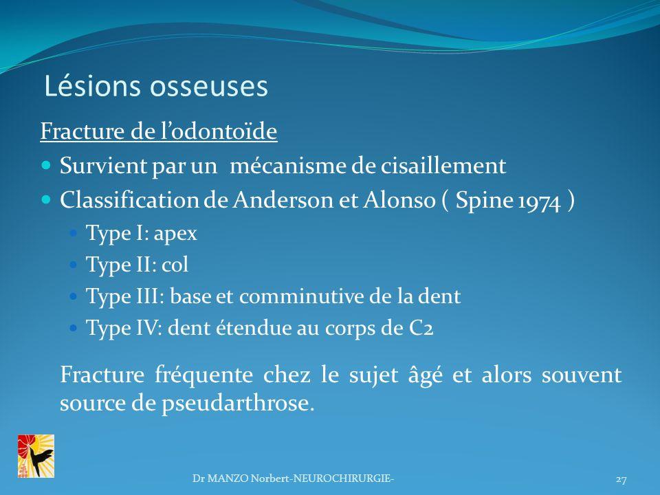 Lésions osseuses Fracture de l'odontoïde