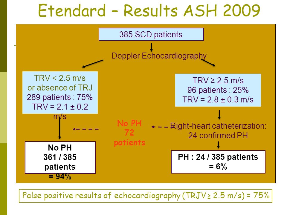Etendard – Results ASH 2009 385 SCD patients Doppler Echocardiography