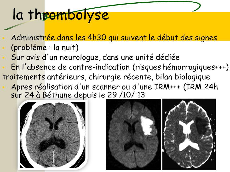 la thrombolyse Administrée dans les 4h30 qui suivent le début des signes. (probléme : la nuit) Sur avis d un neurologue, dans une unité dédiée.