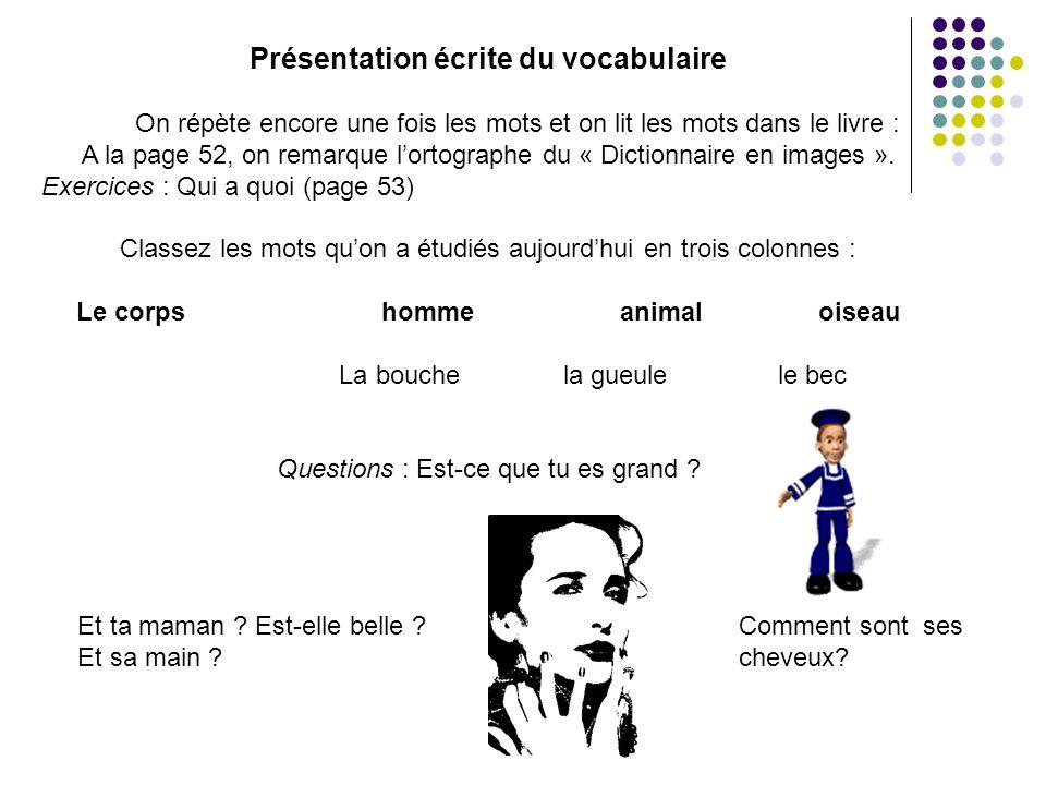 Présentation écrite du vocabulaire