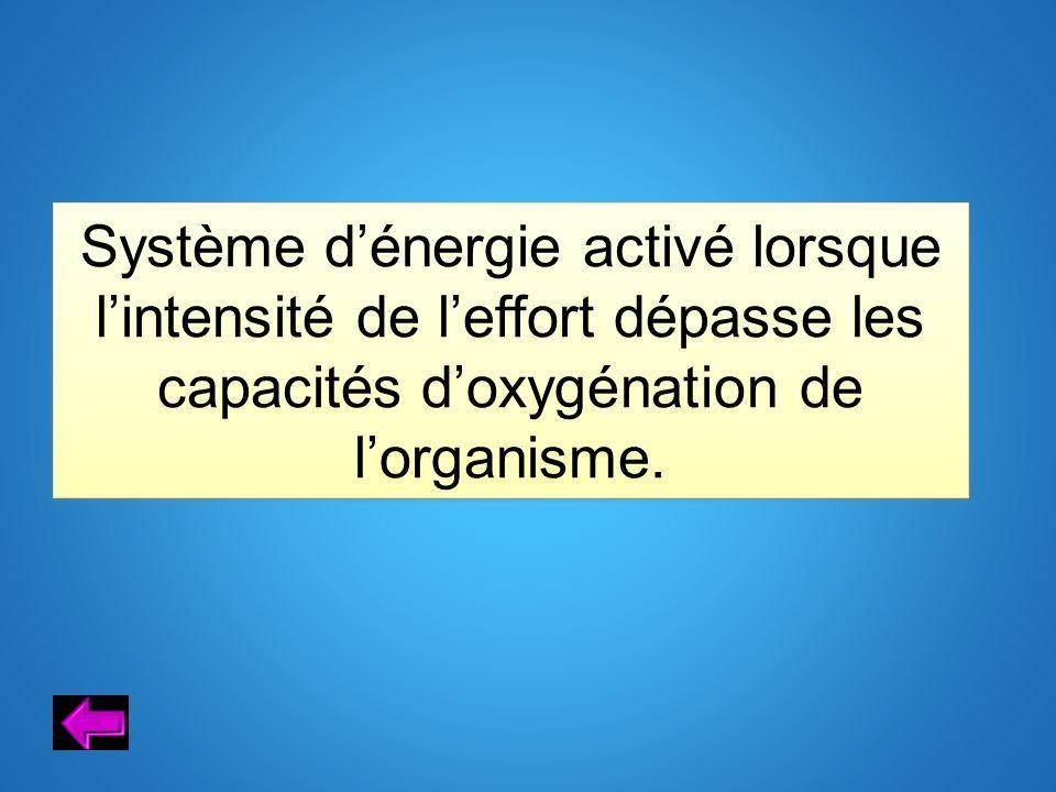 Système d'énergie activé lorsque l'intensité de l'effort dépasse les capacités d'oxygénation de l'organisme.