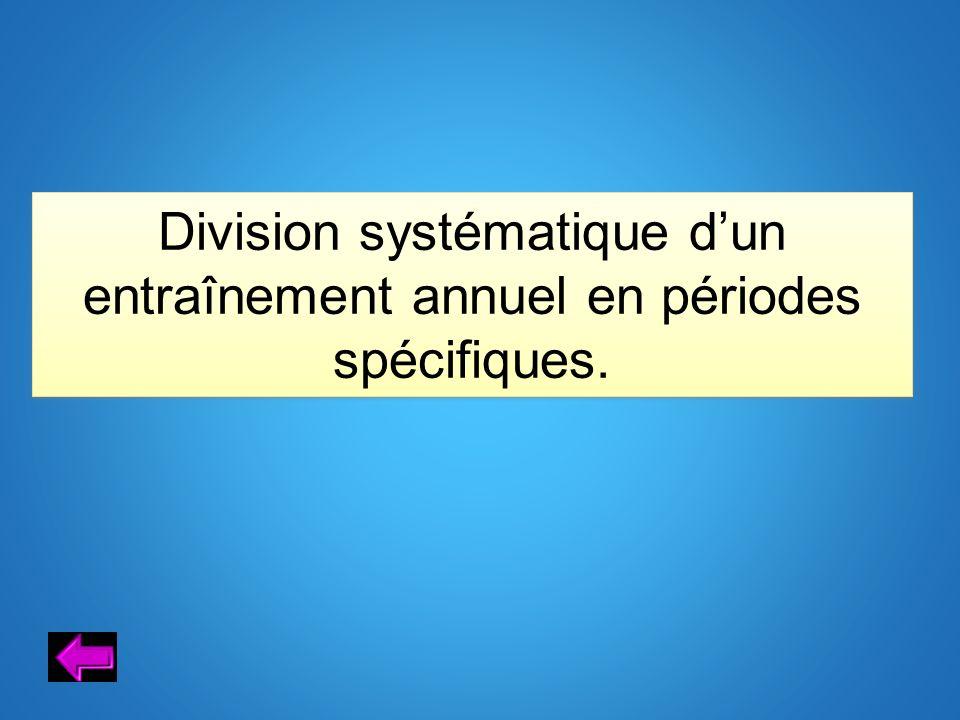 Division systématique d'un entraînement annuel en périodes spécifiques.
