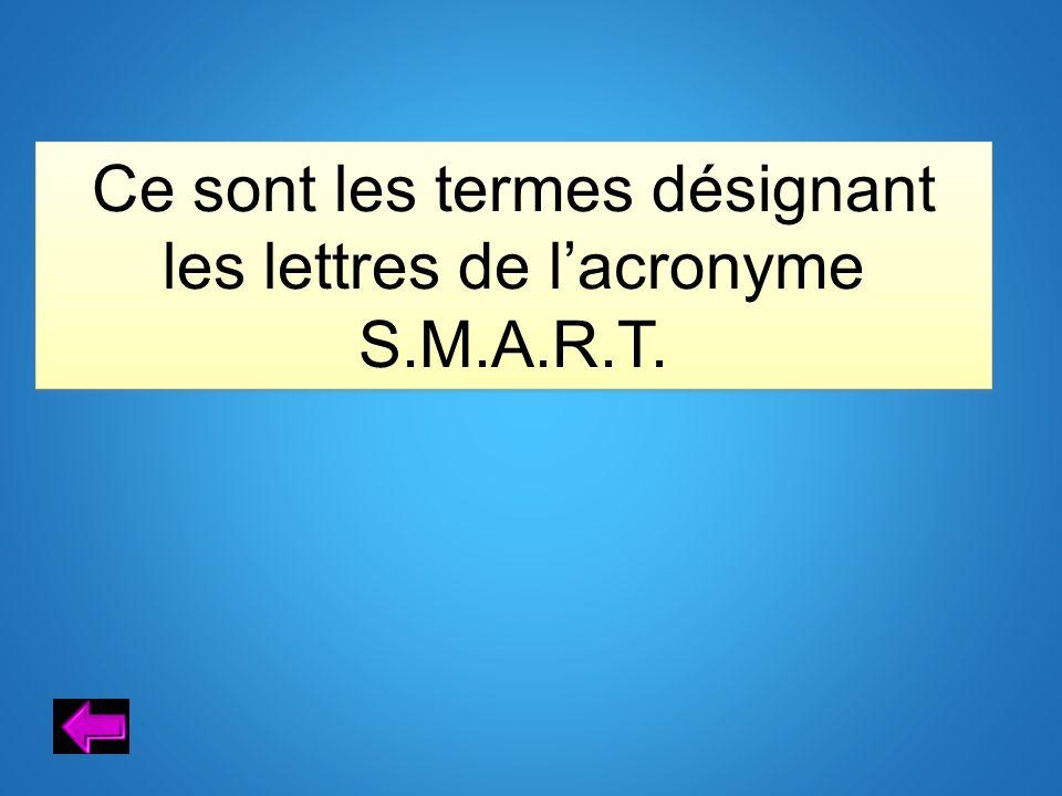 Ce sont les termes désignant les lettres de l'acronyme S.M.A.R.T.