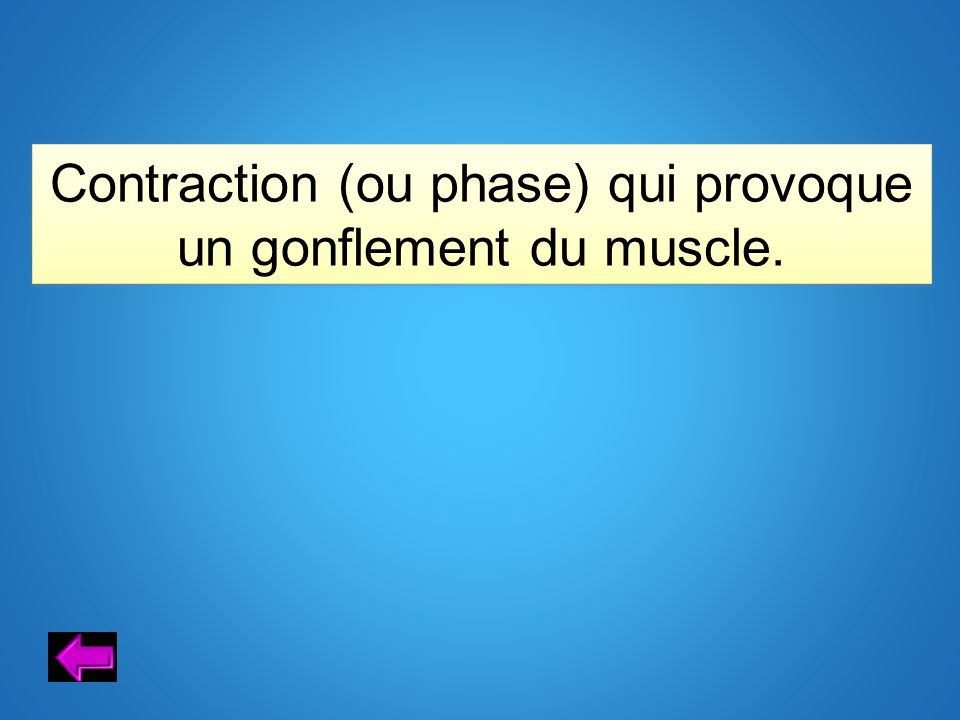 Contraction (ou phase) qui provoque un gonflement du muscle.