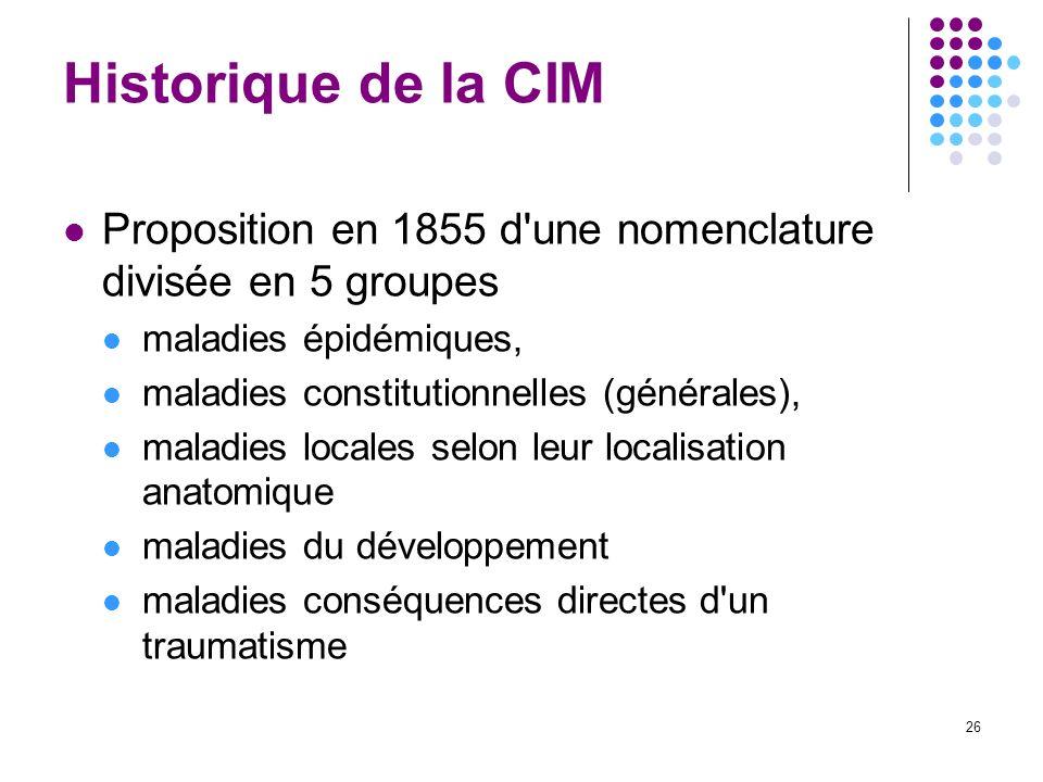 Historique de la CIM Proposition en 1855 d une nomenclature divisée en 5 groupes. maladies épidémiques,