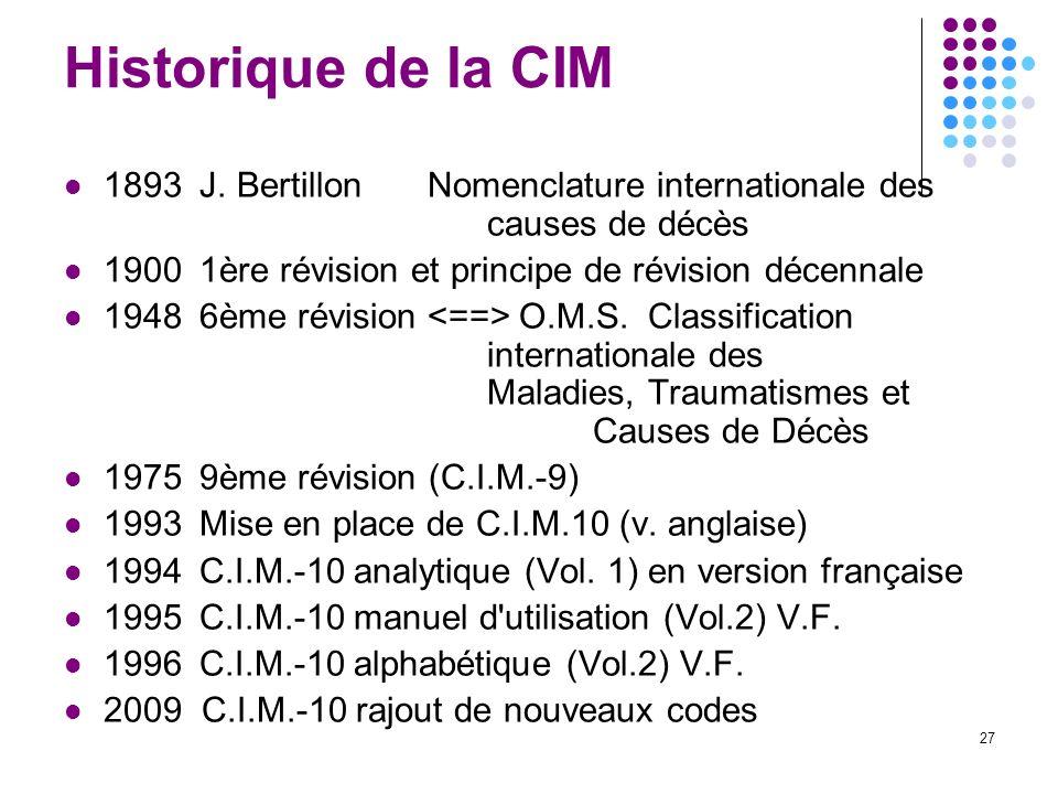 Historique de la CIM 1893 J. Bertillon Nomenclature internationale des causes de décès. 1900 1ère révision et principe de révision décennale.