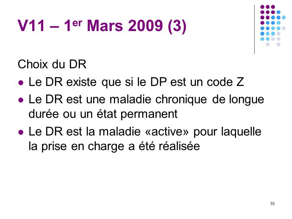 V11 – 1er Mars 2009 (3) Choix du DR. Le DR existe que si le DP est un code Z. Le DR est une maladie chronique de longue durée ou un état permanent.