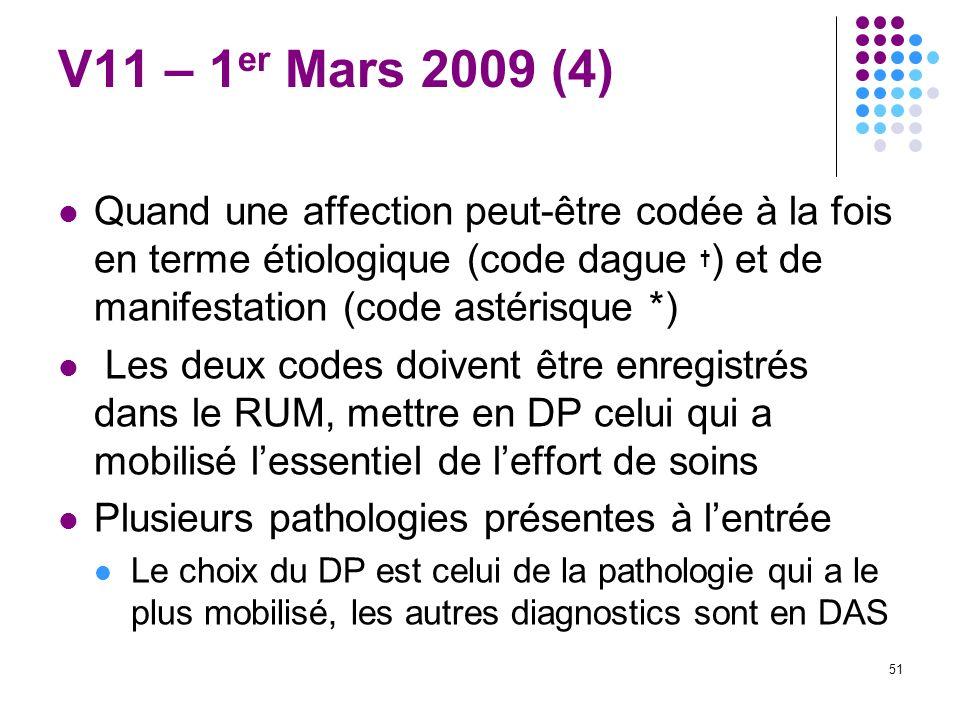 V11 – 1er Mars 2009 (4) Quand une affection peut-être codée à la fois en terme étiologique (code dague †) et de manifestation (code astérisque *)