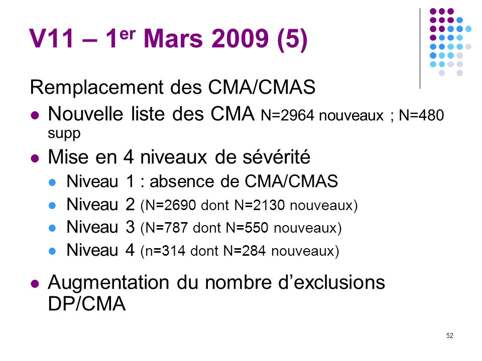 V11 – 1er Mars 2009 (5) Remplacement des CMA/CMAS