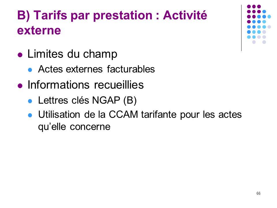 B) Tarifs par prestation : Activité externe