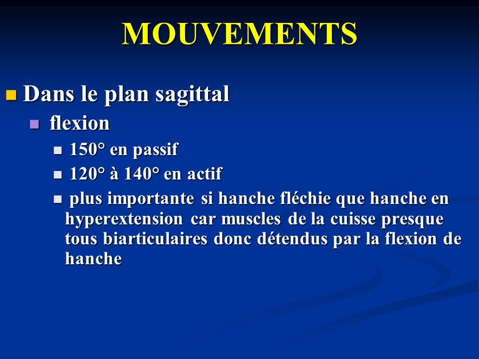 MOUVEMENTS Dans le plan sagittal flexion 150° en passif