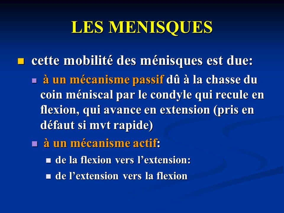 LES MENISQUES cette mobilité des ménisques est due: