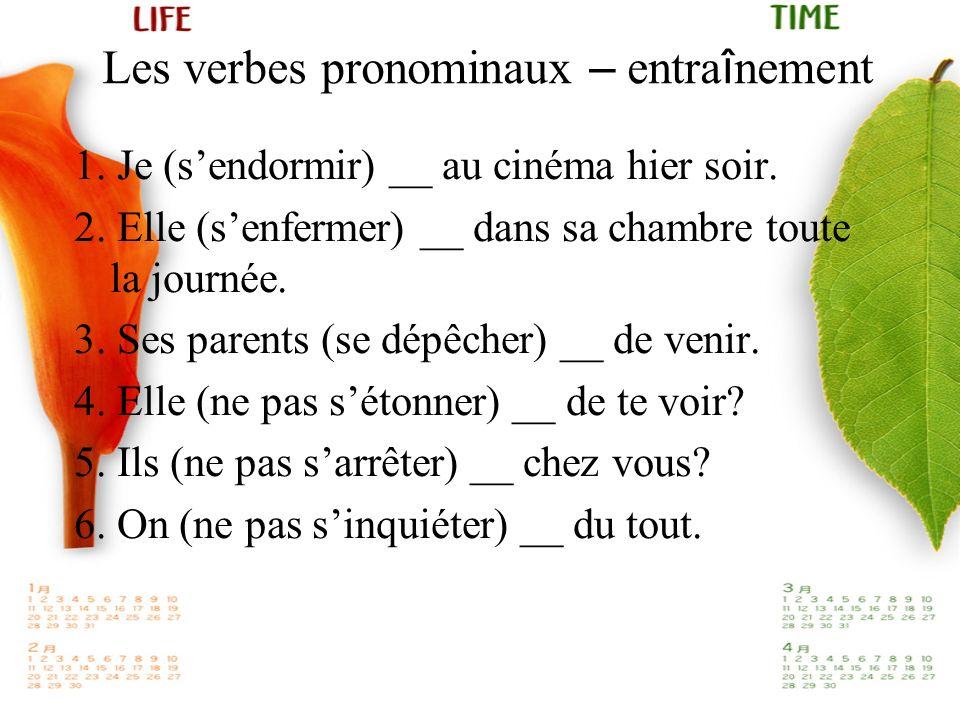 Les verbes pronominaux – entraînement